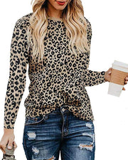 Round Neck Leopard Print Long Sleeve Tops