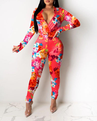 Floral Print Long Sleeve Skinny Suit Sets