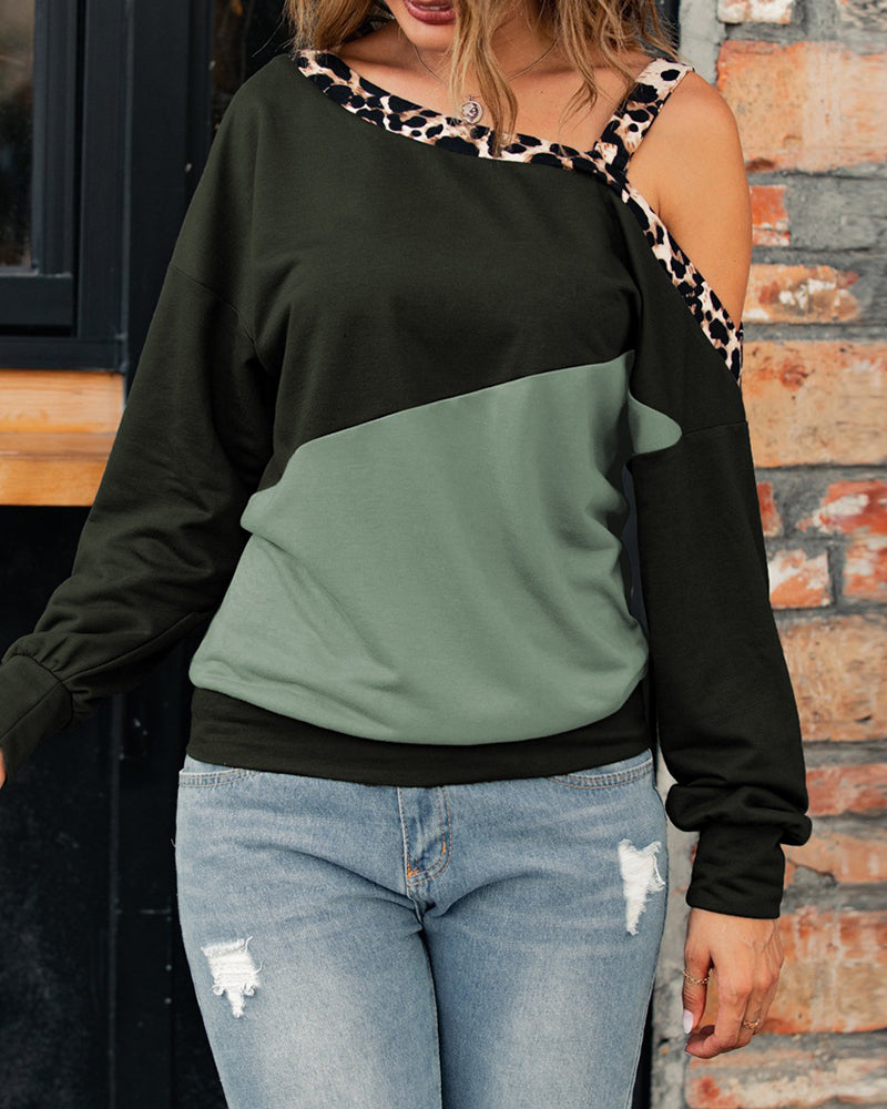 Cheetah Print Colorblock One Shoulder Casual Top
