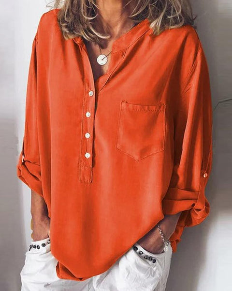 Solid Half Button Blouse