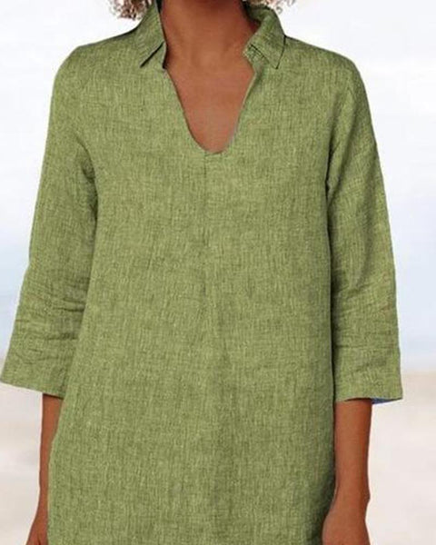 V Neck Collared Linen Top