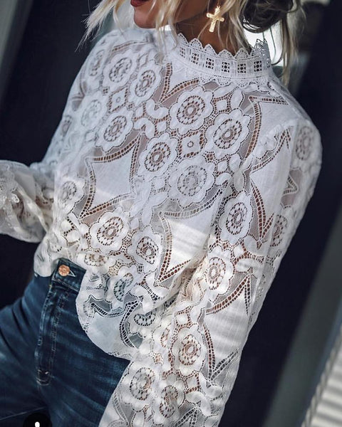 Long Sleeve Hollow Out Lace Casual Top