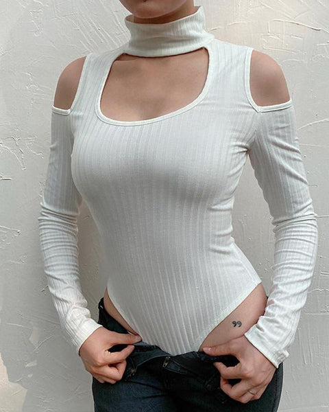 High Neck Chest Cut Out Bodysuit