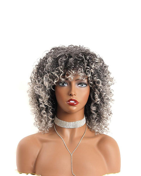 Ombre Grey Short Curly Wig Bangs