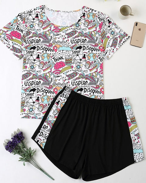 Breathable Print Loose T-shirt Shorts Pajamas Sets