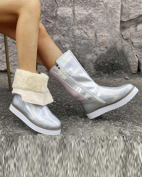 Solid Round-toe Mid Calf Platform Snow Boots