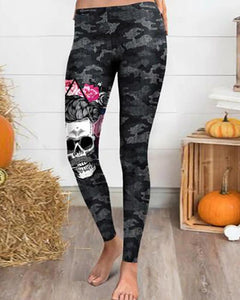 Halloween Skull Floral Print Camouflage Pants