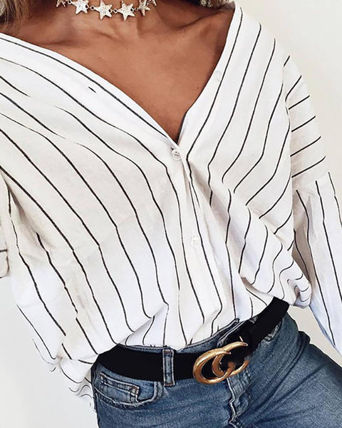 Long Sleeve Button Up Casual Blouse