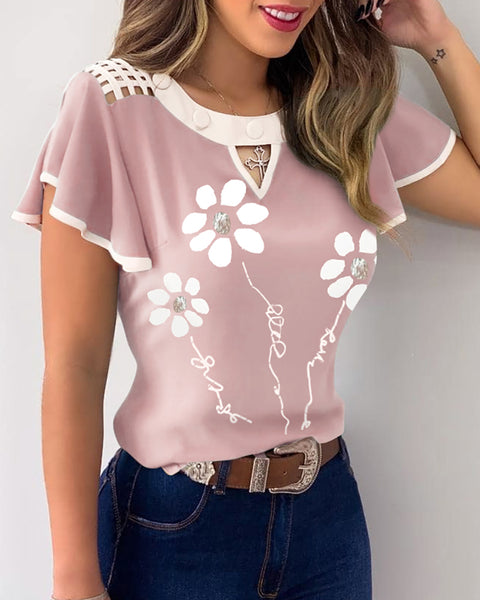 Floral Print Contrast Binding Flutter Sleeve Cutout Front Casual Top