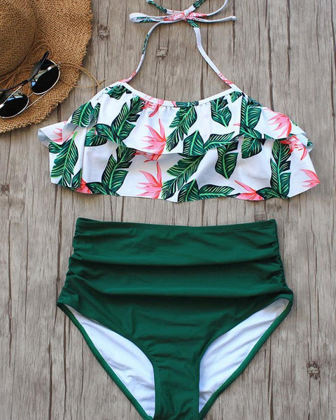 High Waist Palm Leaf Print Ruched Tankini Set