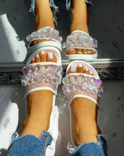 Transparent Studded Design Flat Sandals