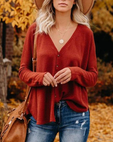 V Neck Button Up Knit Cardigan