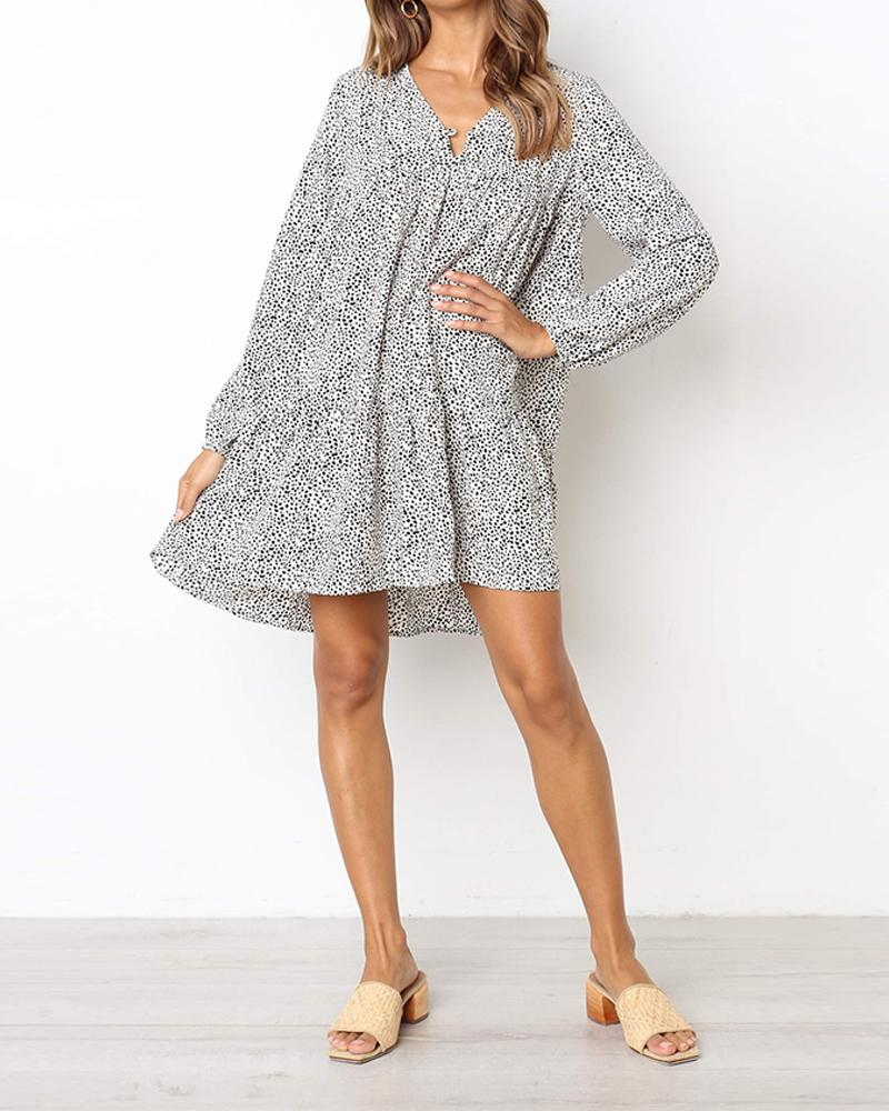 Long sleeve V-neck sexy print dress