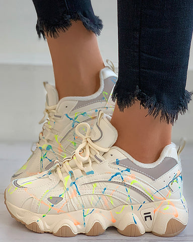 Colorblock Lace-up Chunky Sneaker