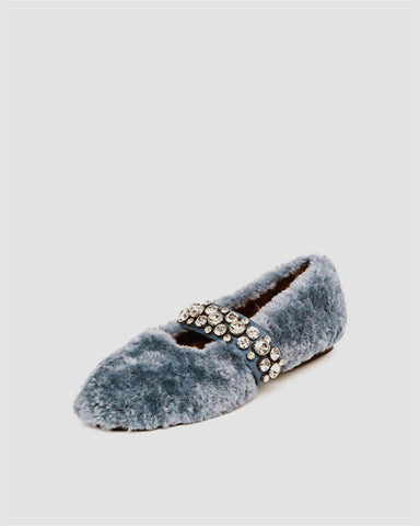 Solid Fluffy Crystal Bandage Upper Loafer Slip-on