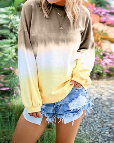 Rainbow gradient printed long sleeve sweater