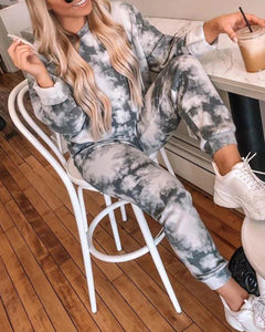Tie Dye Print Top & Drawstring Pants Set