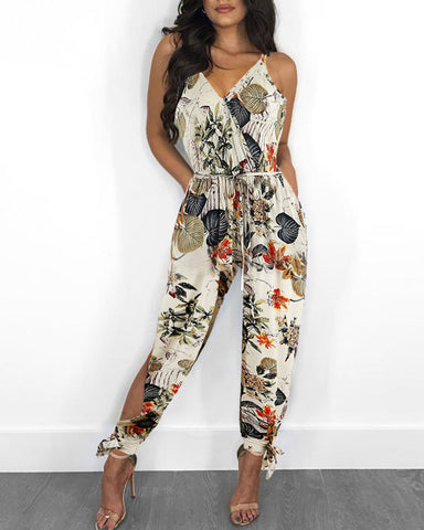 Tropical Print Slit Leg Jumpsuit