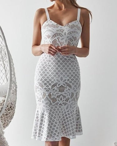 Crochet Lace Pep Hem Fishtail Dress