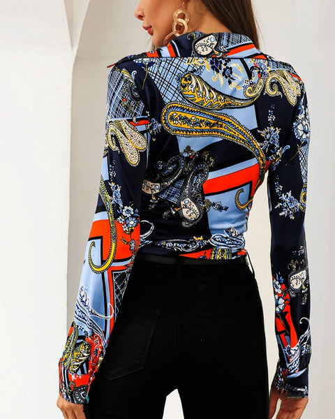Scarf Print Long Sleeve Twisted Front Shirt