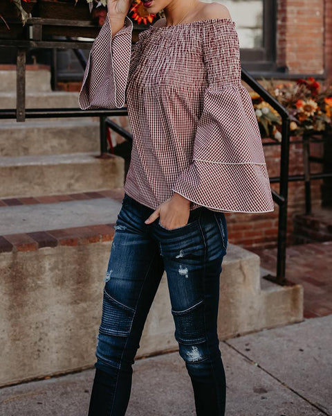 Flared Layered Off Shoulder Shirring Blouse