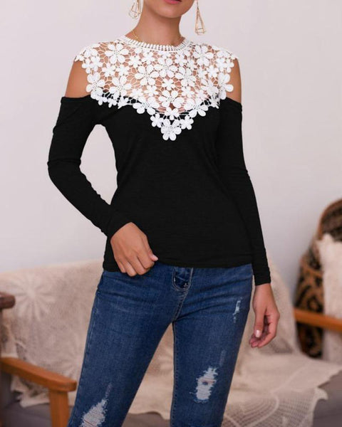 Cold Shoulder Lace Embroidery Patchwork Tops