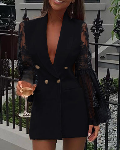 Crochet Lace Sheer Mesh Double Breasted Blazer Dress