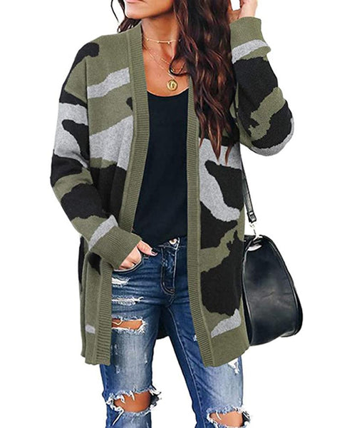 Camouflage Long Sleeve Open Front Sweater