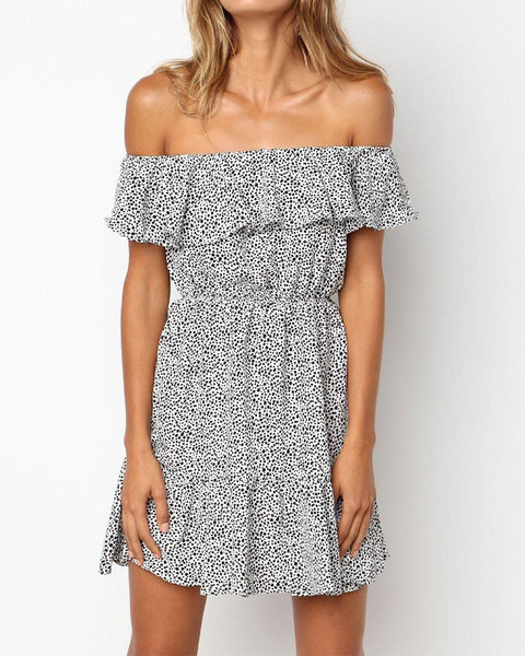 Off Shoulder Dot Print Dress
