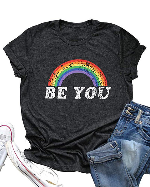 Rainbow Print Loose T-shirt