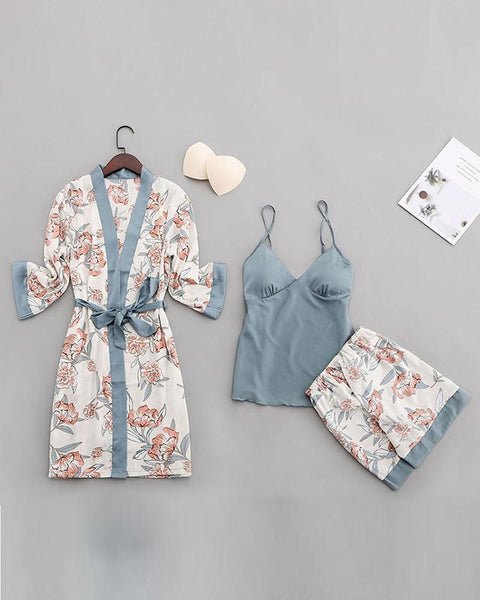 Ice Silk Print Shorts Three-piece Pajamas