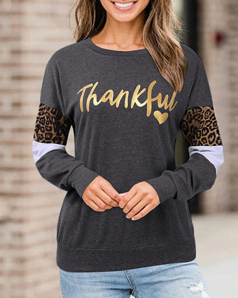 Thanksgiving Theme Letter Print Top