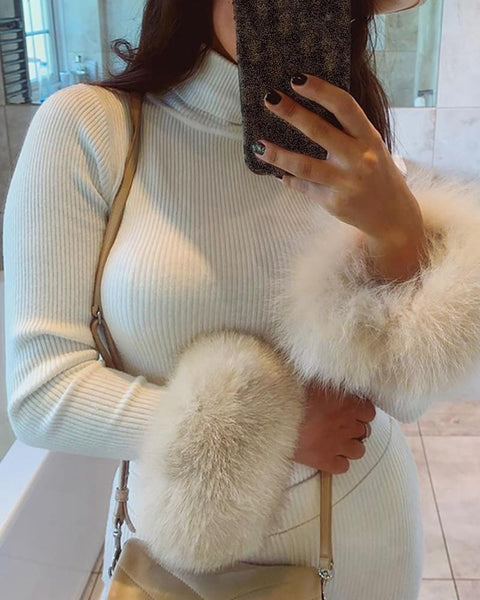 Ribbed Fluffy Detail Sleeve Sweater