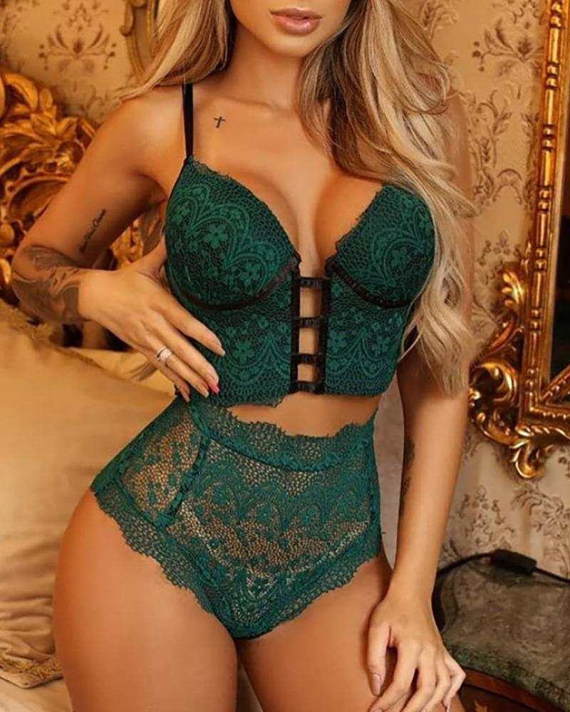 Crochet Lace Cutout Lace-up Lingerie Set