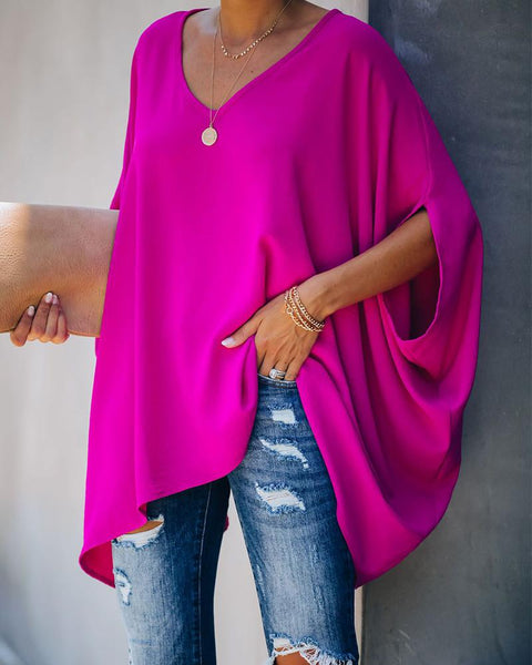 V Neck Oversized Casual Top