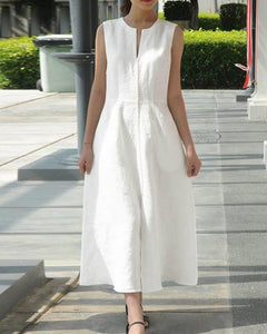 Sleeveless Linen Maxi Dress