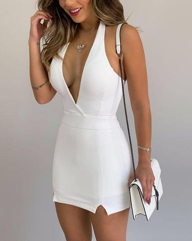Halter Neck Plunge Mini Dress