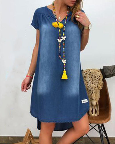 Denim Short Sleeve Mini Dress
