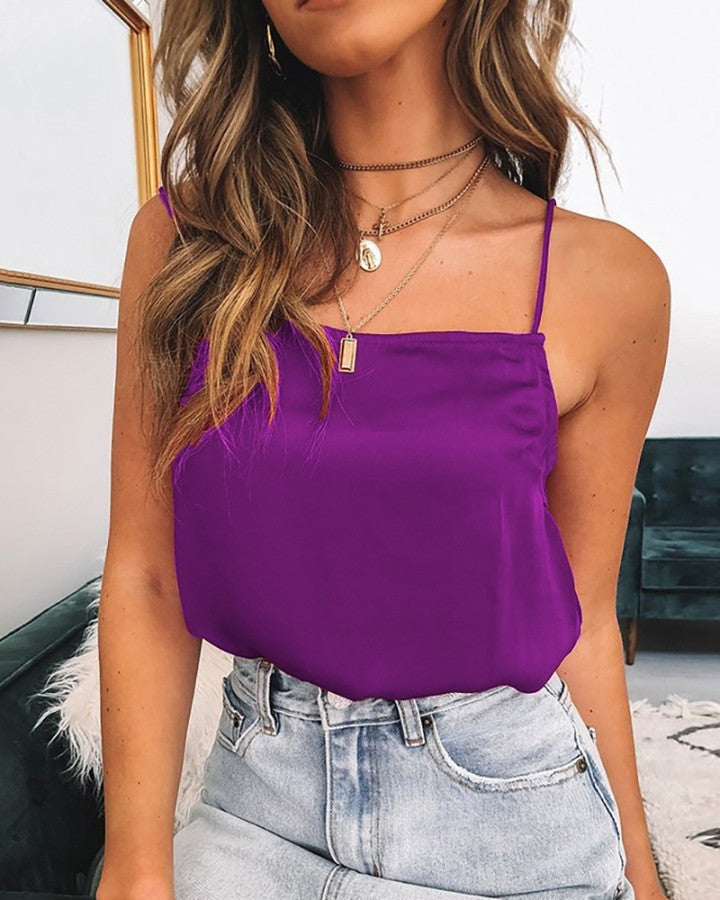 Spaghetti Strap Satin Top