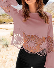 Lace Hollow Out Flared Sleeve Blouse