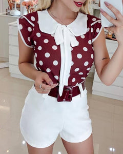 Peter Pan Collar Dot Print Casual Blouse