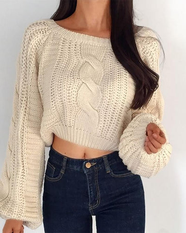 Lantern Sleeve Braided Hollow Out Sweater