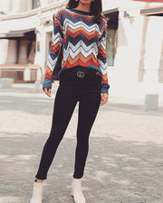 Strip rainbow Sweater knitted Pullover Steetwear Sweater