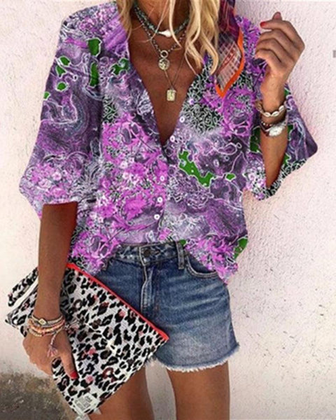 Multicolor Print Loose Blouse Top