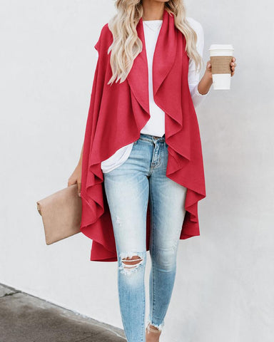 Solid Sleeveless Drape Cardigan
