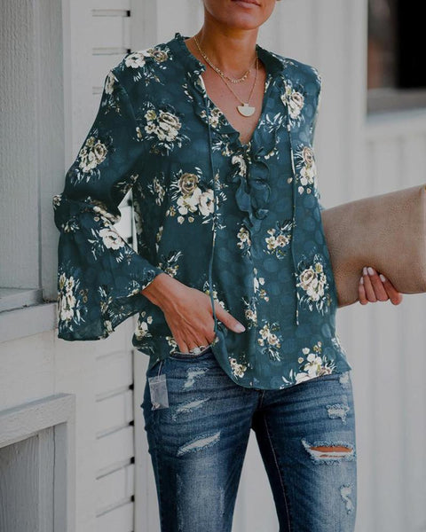 Stand Collar Floral Print Top