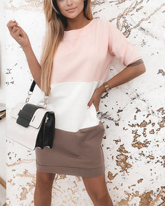 Colorblock Backless Short Sleeve Dress