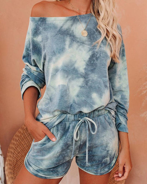 Tie Dye T-shirt Shorts Homewear Two-piece