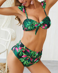 Tropical Print Knotted Ruffles Bikini Set