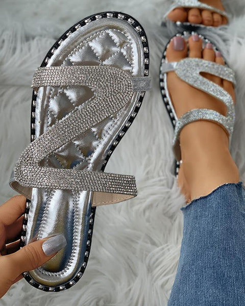 Diamante Cutout Open Toe Flat Sliders
